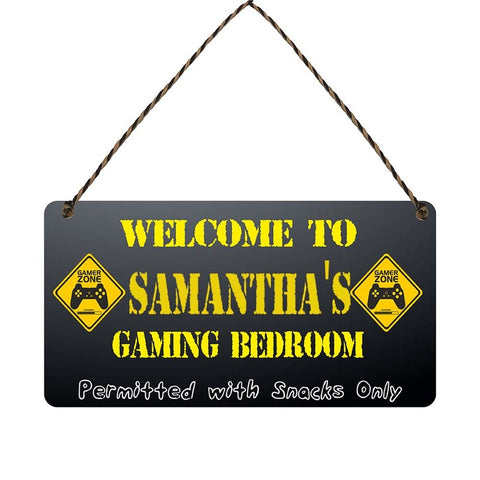 any name Personalised gamer bedroom gift sign Samanthas