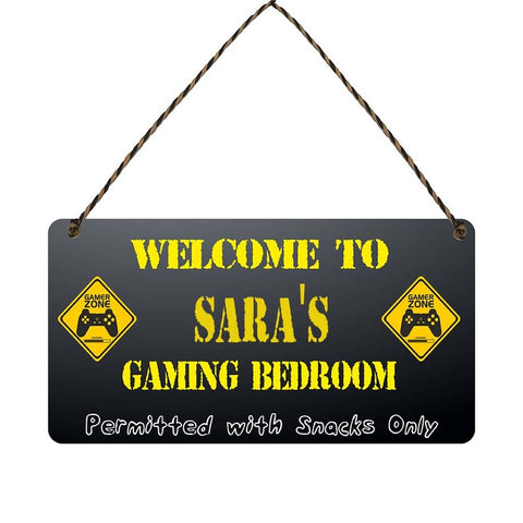 any name Personalised gamer bedroom gift sign Saras