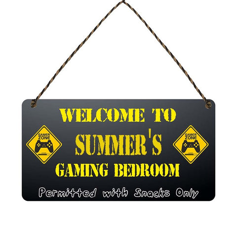 any name Personalised gamer bedroom gift sign Summers