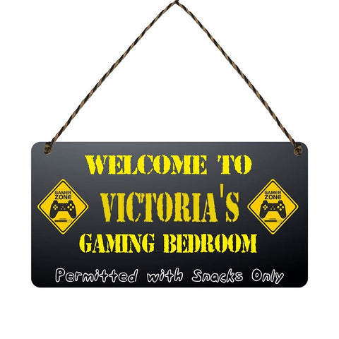 any name Personalised gamer bedroom gift sign Victorias