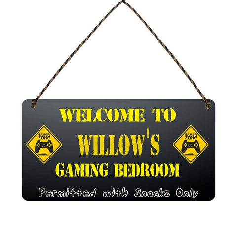 any name Personalised gamer bedroom gift sign Willows