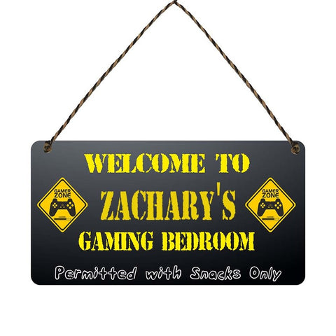 any name Personalised gamer bedroom gift sign Zacharys