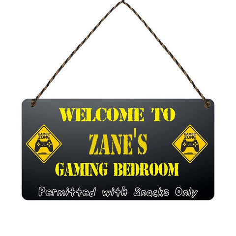 any name Personalised gamer bedroom gift sign Zanes
