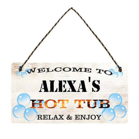 any name Personalised hot tub gift sign Alexas