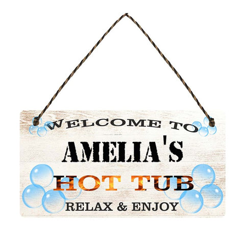 any name Personalised hot tub gift sign ame lias