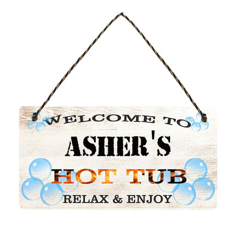 any name Personalised hot tub gift sign Ashers