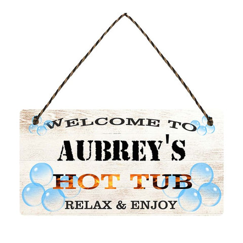 any name Personalised hot tub gift sign Aubreys