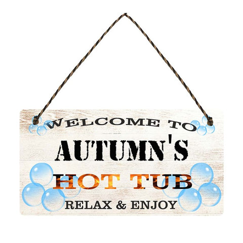 any name Personalised hot tub gift sign Autumns