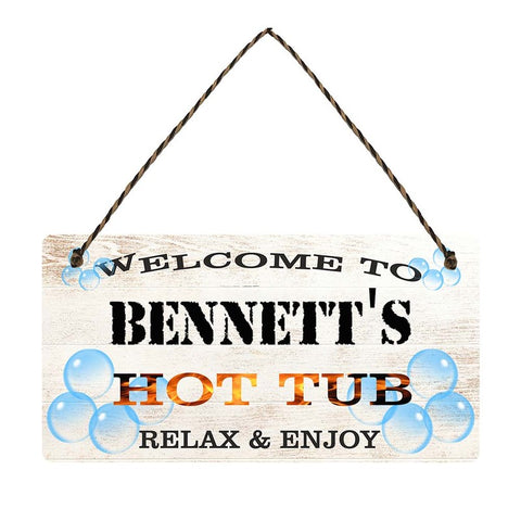 any name Personalised hot tub gift sign Bennetts