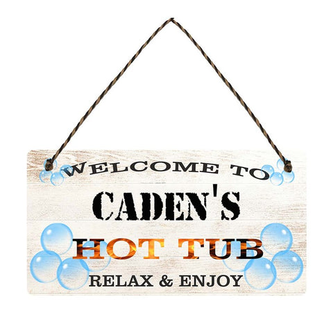 any name Personalised hot tub gift sign Cadens