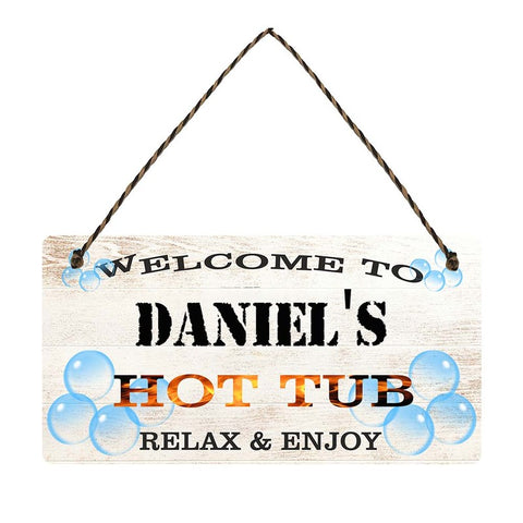 any name Personalised hot tub gift sign Daniels