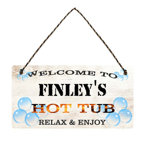 any name Personalised hot tub gift sign Finleys