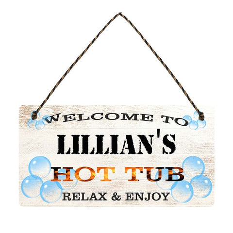 any name Personalised hot tub gift sign Lillians