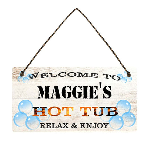 any name Personalised hot tub gift sign Maggies
