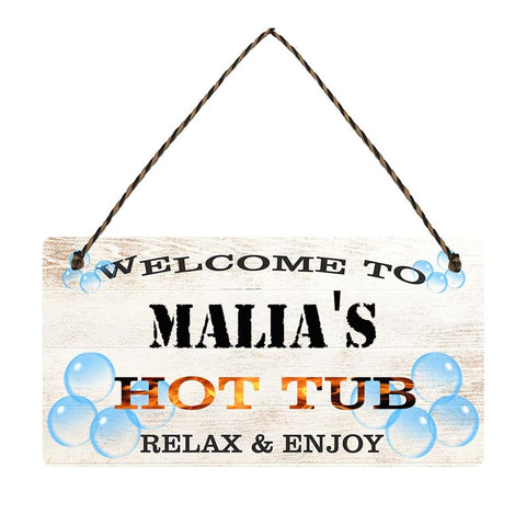 any name Personalised hot tub gift sign Malias
