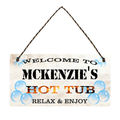 any name Personalised hot tub gift sign Mckenzies