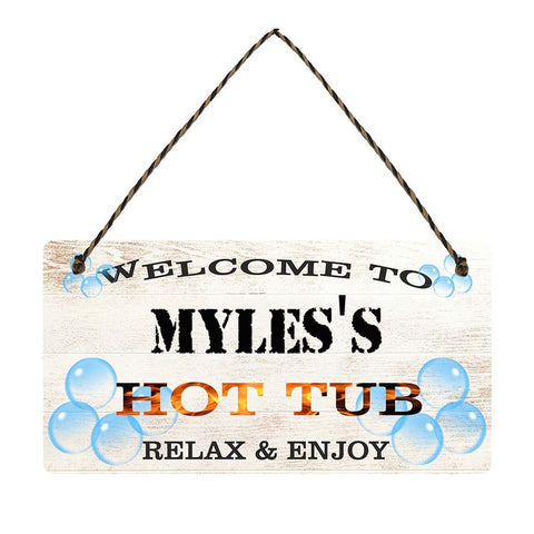 any name Personalised hot tub gift sign Myless