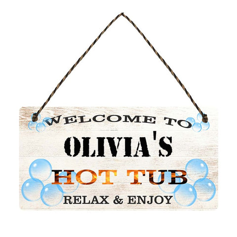 any name Personalised hot tub gift sign Olivias