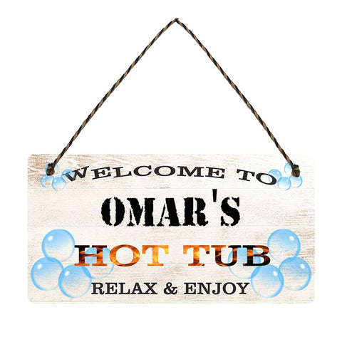 any name Personalised hot tub gift sign Omars