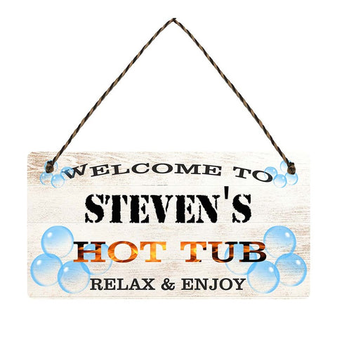 any name Personalised hot tub gift sign Stevens