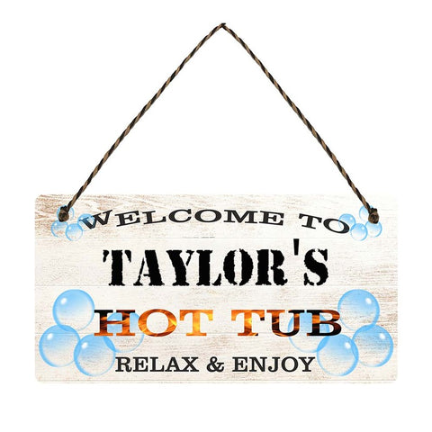 any name Personalised hot tub gift sign Taylors