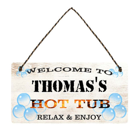 any name Personalised hot tub gift sign Thomass