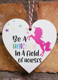 HANGING LOVE HEART UNICORN Wooden Hanging Heart Valentines Gift
