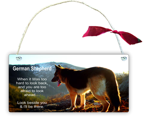 GP31 German Gift Hanging Wall Door Sign Plaque Decoration Shepherd When it was too hard to look back