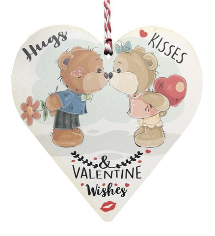 Hugs & Kisses & Valentine wishes Wooden Hanging Heart Valentines Gift