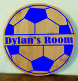 Personalised Football large Wooden Door Name Plaque Boy Girls Bed Room Sign