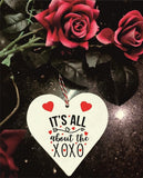 Its All About The XoXo Kisses & Hugs Wooden Hanging Love Heart Valentines Gift