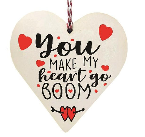 You Make My Heart Go Boom Wooden Hanging Love Heart Valentines Gift