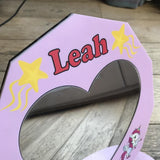 Personalised Pink Girl's Love Heart Unicorn Mirror