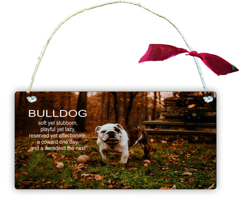 GP3 Gift Hanging Wall Door Sign Plaque Decoration Bulldog Soft yet stubborn