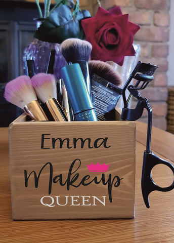 Personalised Antique Wooden Make Up Brush Holder Gift Birthday Makeup Girly Lips
