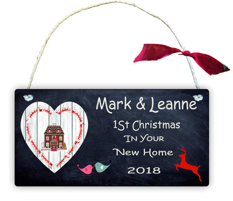GP86 Gift Hanging Wall Door Sign Plaque Decoration Personalised 1st Christmas in new home