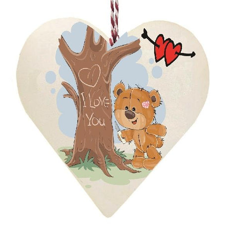 Teddy Bear I Love You wrote on Tree Wooden Hanging Love Heart Valentines Gift