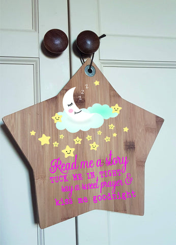 Print Wooden STAR Read Me a Story Christening Children Nursery Baby quote love