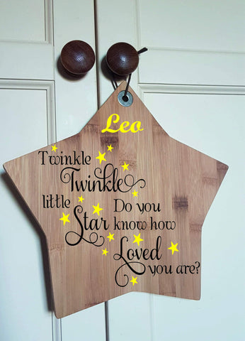 Personalised Wooden STAR Twinkle Twinkle Christening Children Nursery Baby quote