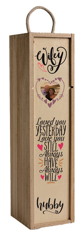 Personalised Photo Gift Wine Box valentines Wood Anniversary Wedding Present