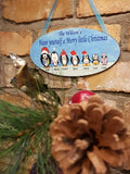 Hanging Personalised Family Name Christmas Penguin Wall Plaque