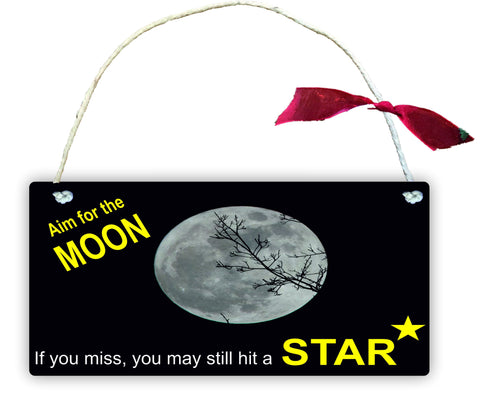 GP29 Gift Hanging Wall Door Sign Plaque Decoration Aim for the Moon, you may still hit a star