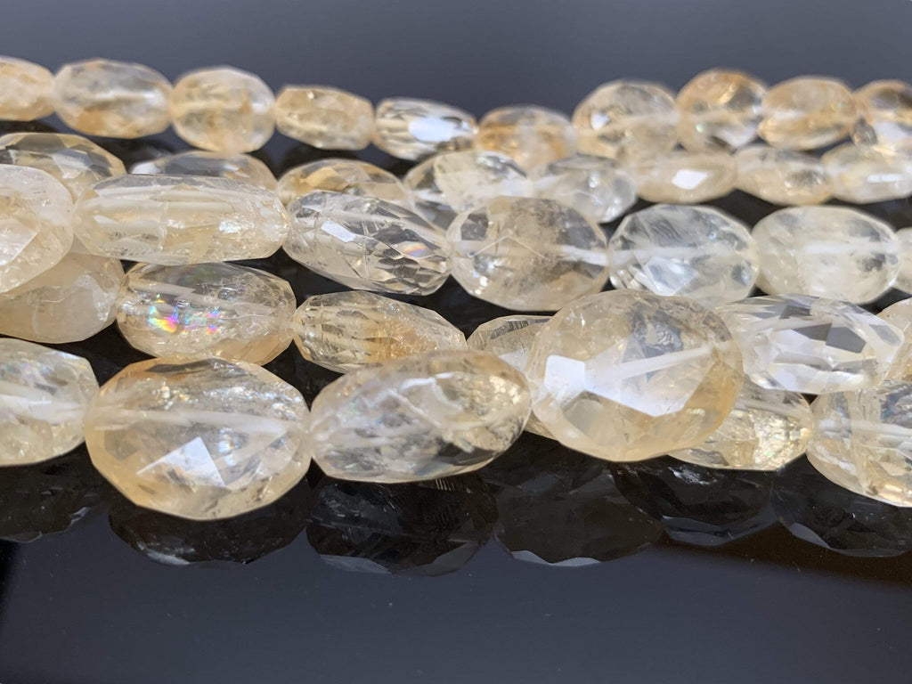 Citrine Oval Faceted irregular Gemstones Bead Strand 13mm x 18mm Beads