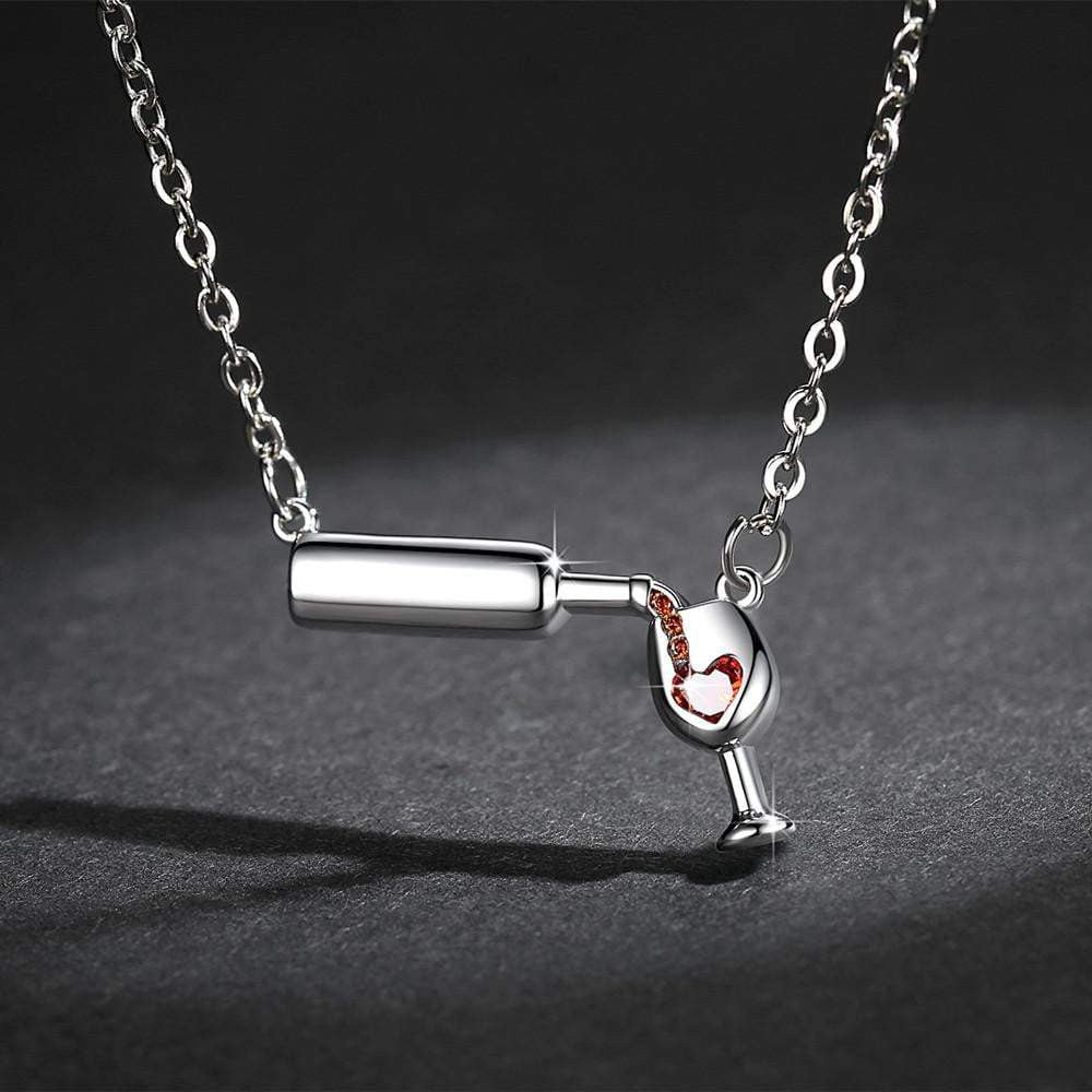 Love Wine Women Pendant Necklace. Wine Necklace
