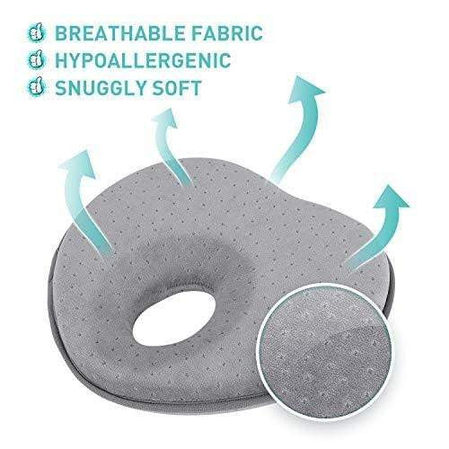 Baby Pillow for Newborn, Flat Head Syndrome Prevention 3D Memory Foam