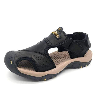 Black 2 / 6.5 BAOLUMA Mens Black Sandals  -  Cheap Surf Gear