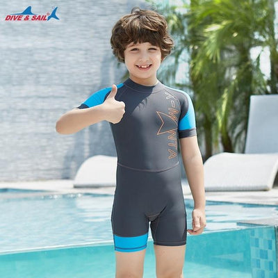 Gray / S DIVE&SAIL Kids Rash Guard  -  Cheap Surf Gear