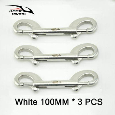 White 100MM 3PCS KEEP DIVING Stainless Steel Snap Hook  -  Cheap Surf Gear