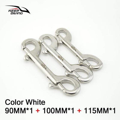 White 3 Size KEEP DIVING Stainless Steel Snap Hook  -  Cheap Surf Gear