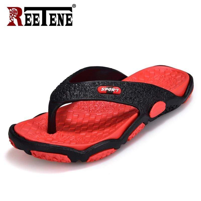 REETENE Red Flip Flops  -  Cheap Surf Gear